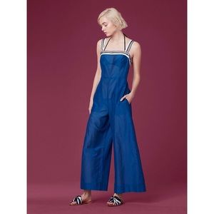 DVF Sleeveless Beach Jumpsuit Coverup On Ink Blue